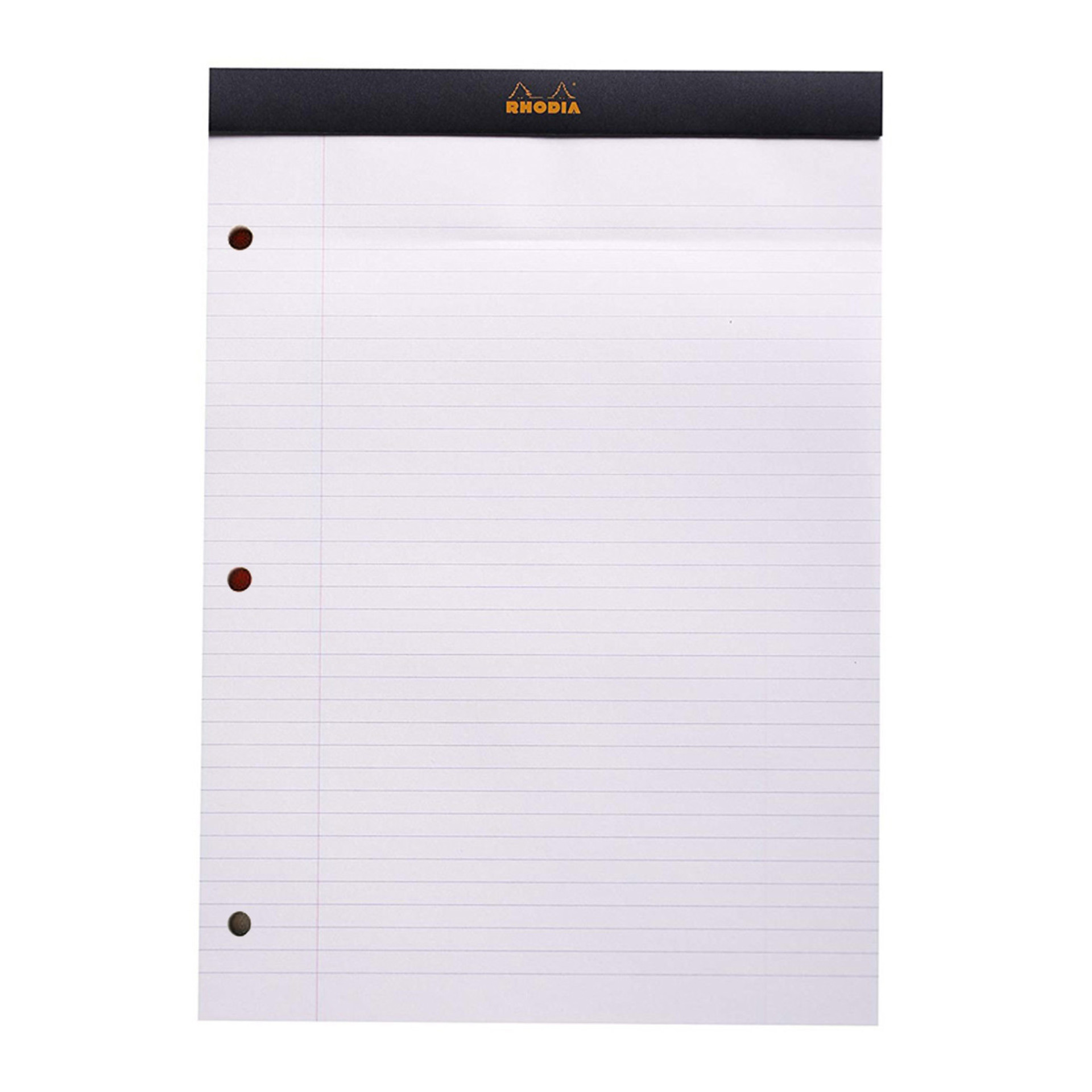 Rhodia Black Lined 3 Holes Top Stapled Pad