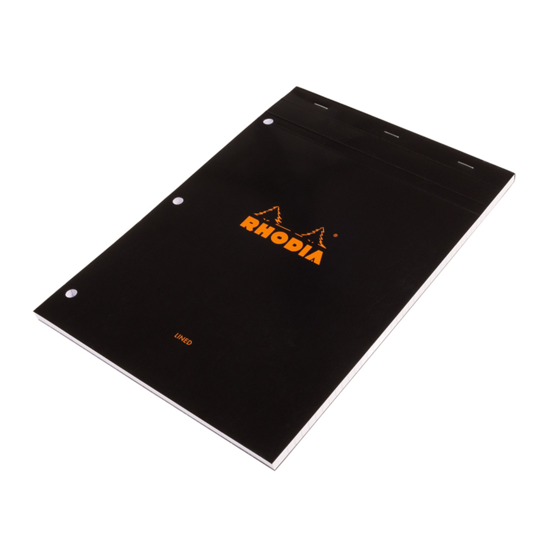"""Rhodia Black 81/4""""x113/4"""" Lined 3 Holes Top Stapled Notepad"""