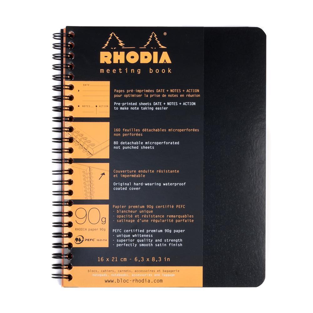 6.5 x 8.25 NEW Black Lined Notebook Rhodia Wiredbound Meeting Book