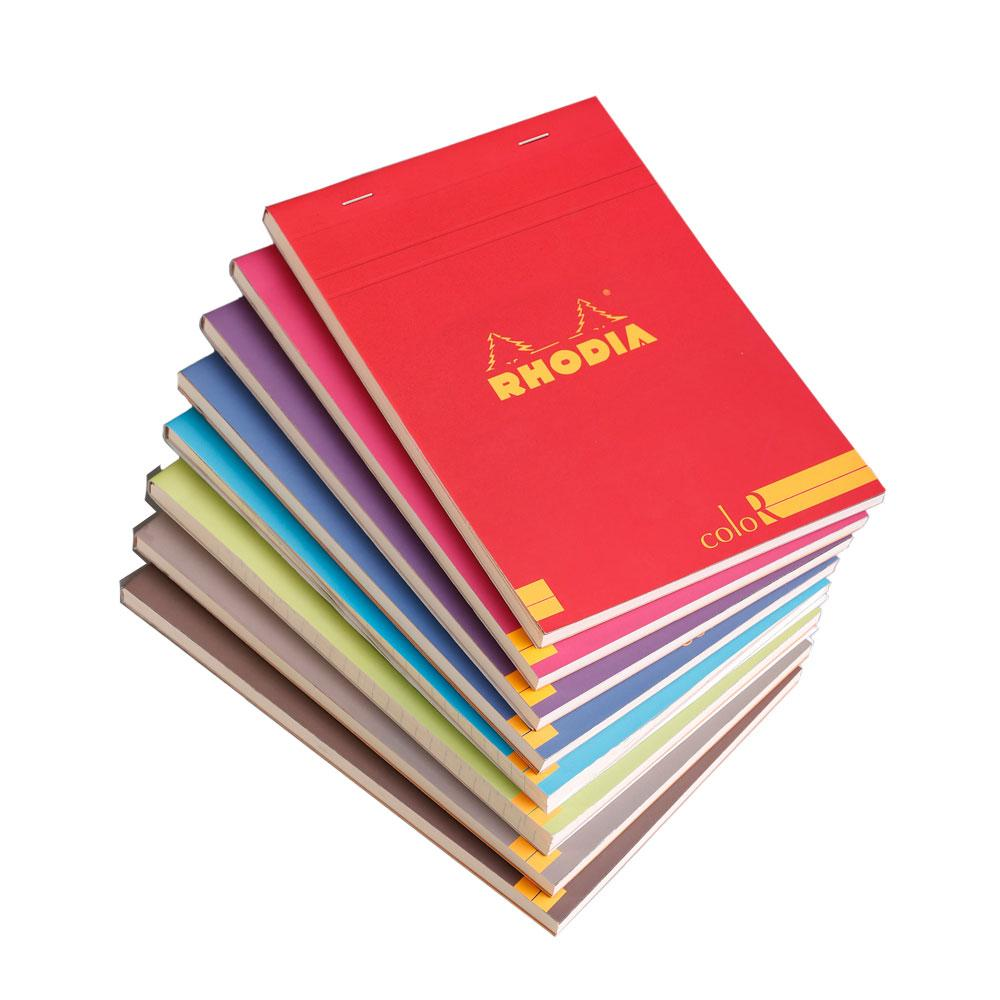 Rhodia ColoR Lined Top Stapled Notepad 70ct – A6 – Assorted Colors