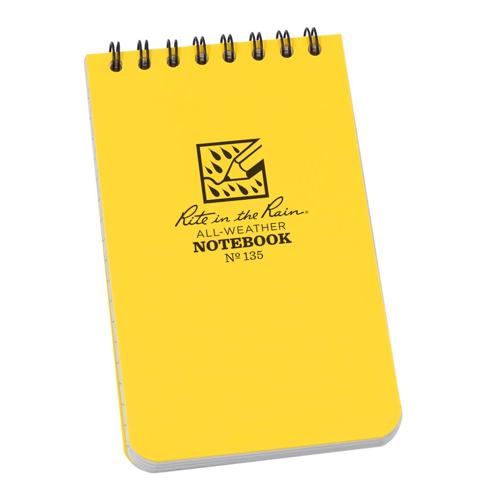 "Rite in the Rain Yellow 3""x5"" Top Spiral Memo Notebook"