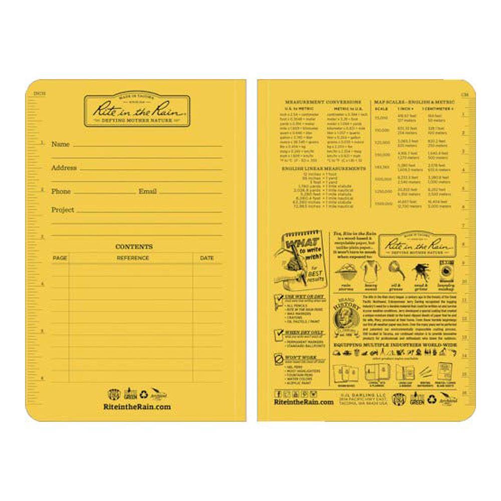 """Rite in the Rain Notebook 41/4""""x71/4"""" Inside Cover"""