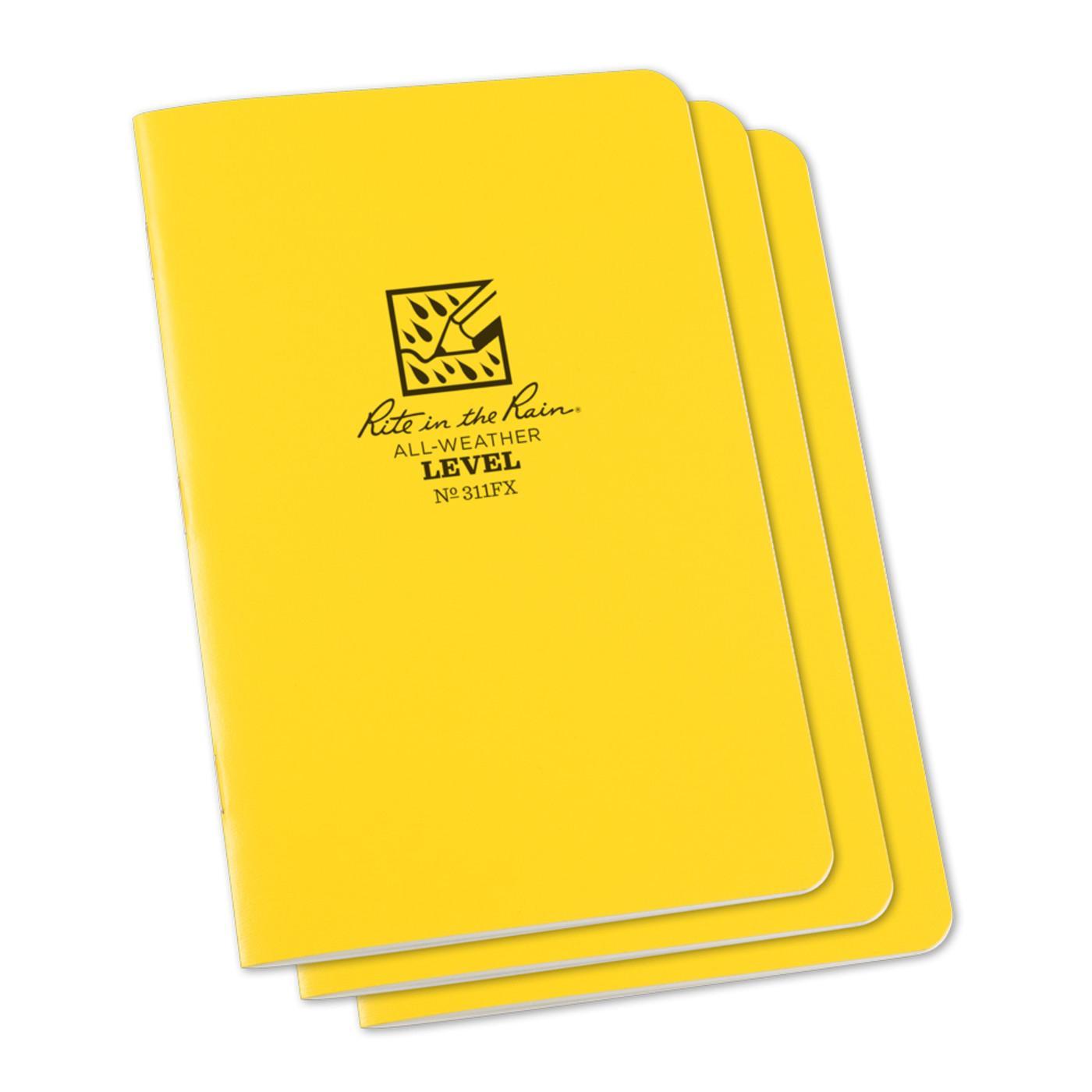 """Rite in the Rain Yellow 45/8""""x7"""" Level Stapled Notebook"""