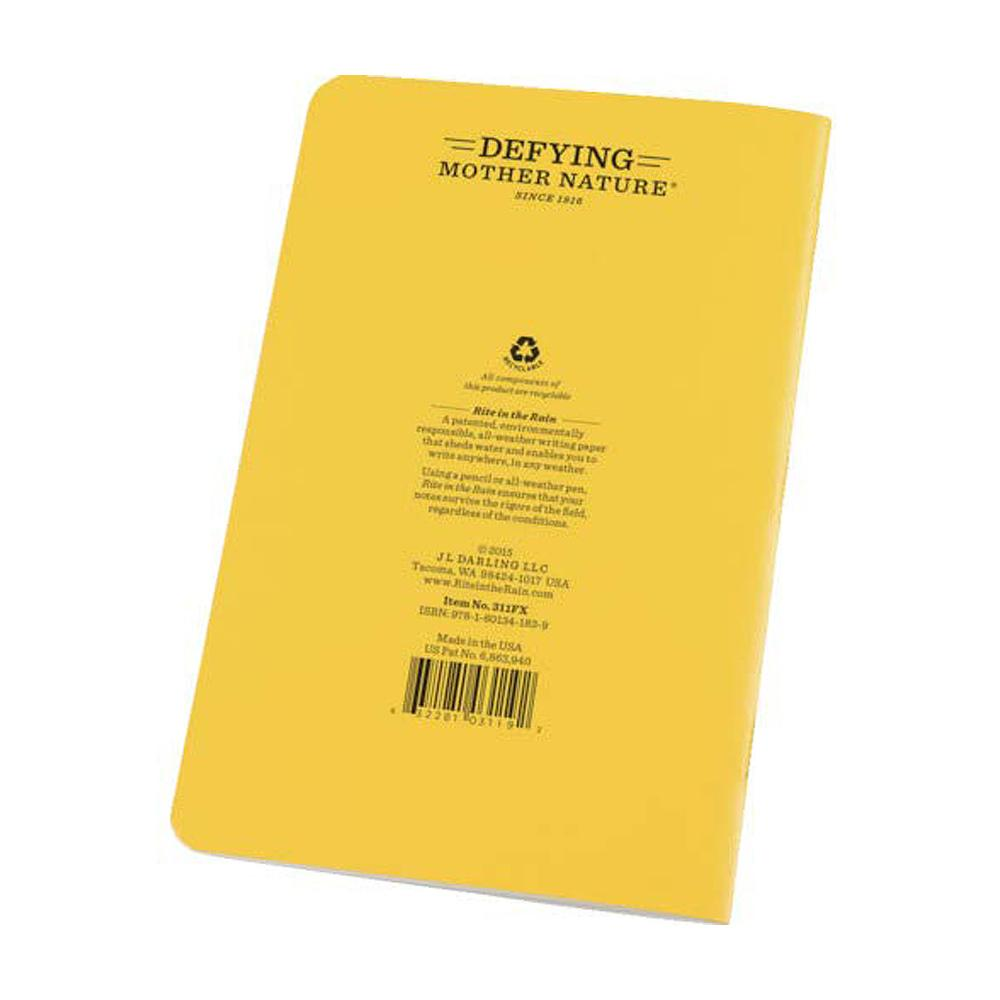 "Rite in the Rain Yellow 45/8""x7"" Notebook Back Cover"