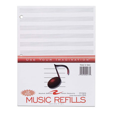 Roaring Spring 12 Staves 3 Hole Music Filler Paper