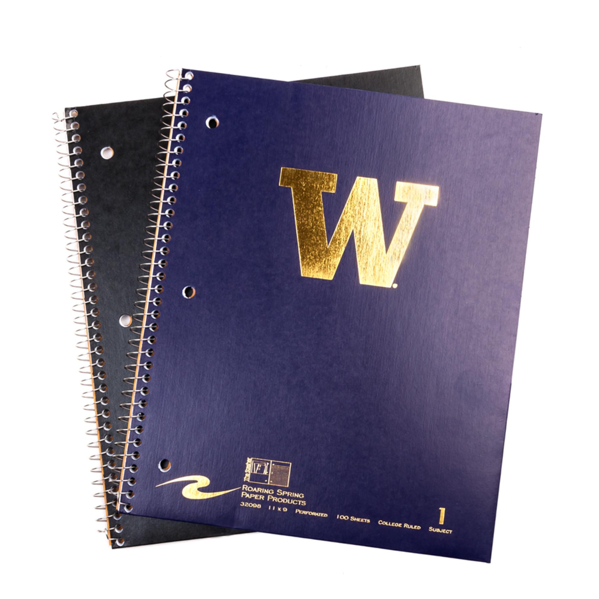 UW 1 Subject College Spiral Notebook