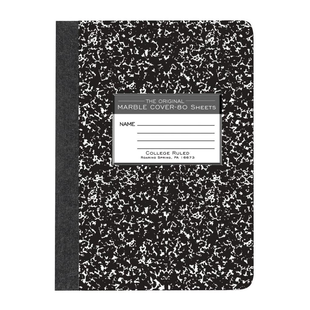 """Roaring Spring Black Marble College Sewn 9.75""""x7.5"""" Notebook"""
