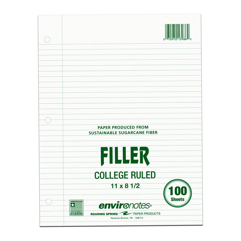 Roaring Spring College Recycled Filler Paper 100ct