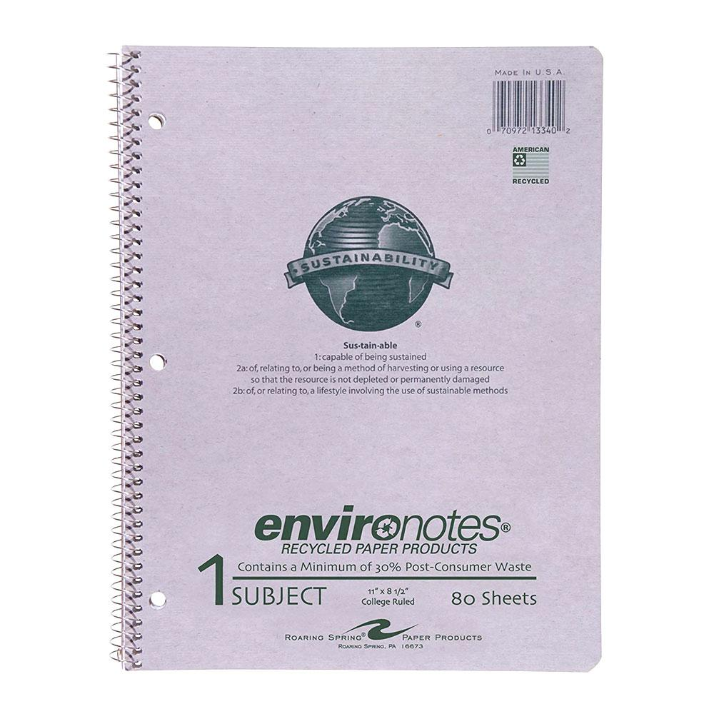Roaring Spring Environotes 1 Subject College Spiral Notebook