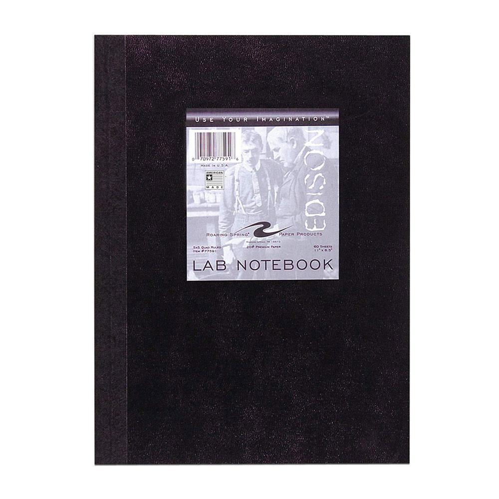 Roaring Springs Black 5x5 Quad Sewn Lab Notebook