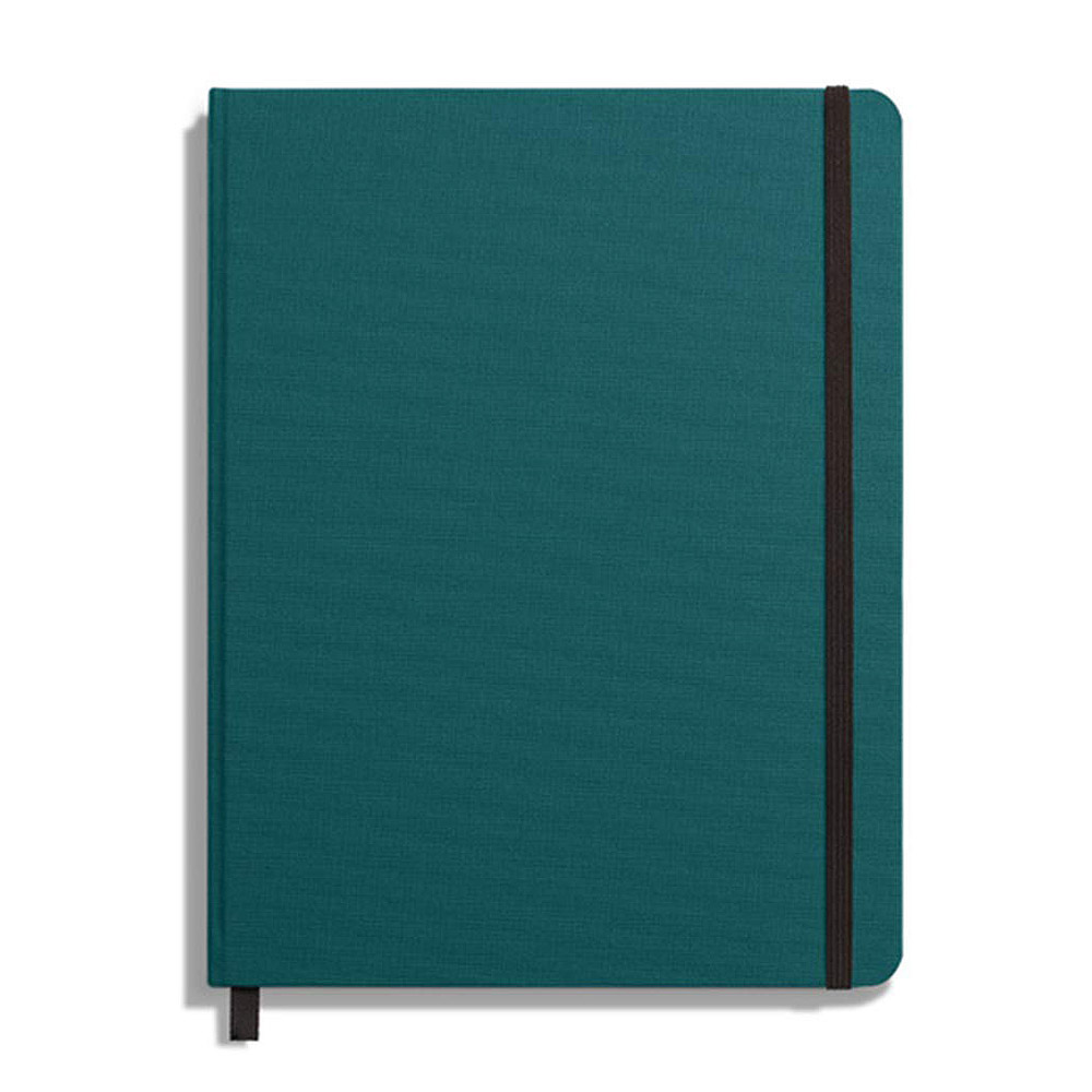 "Shinola Ruled Hard Linen 7""x9"" Journal Dark Teal Front"
