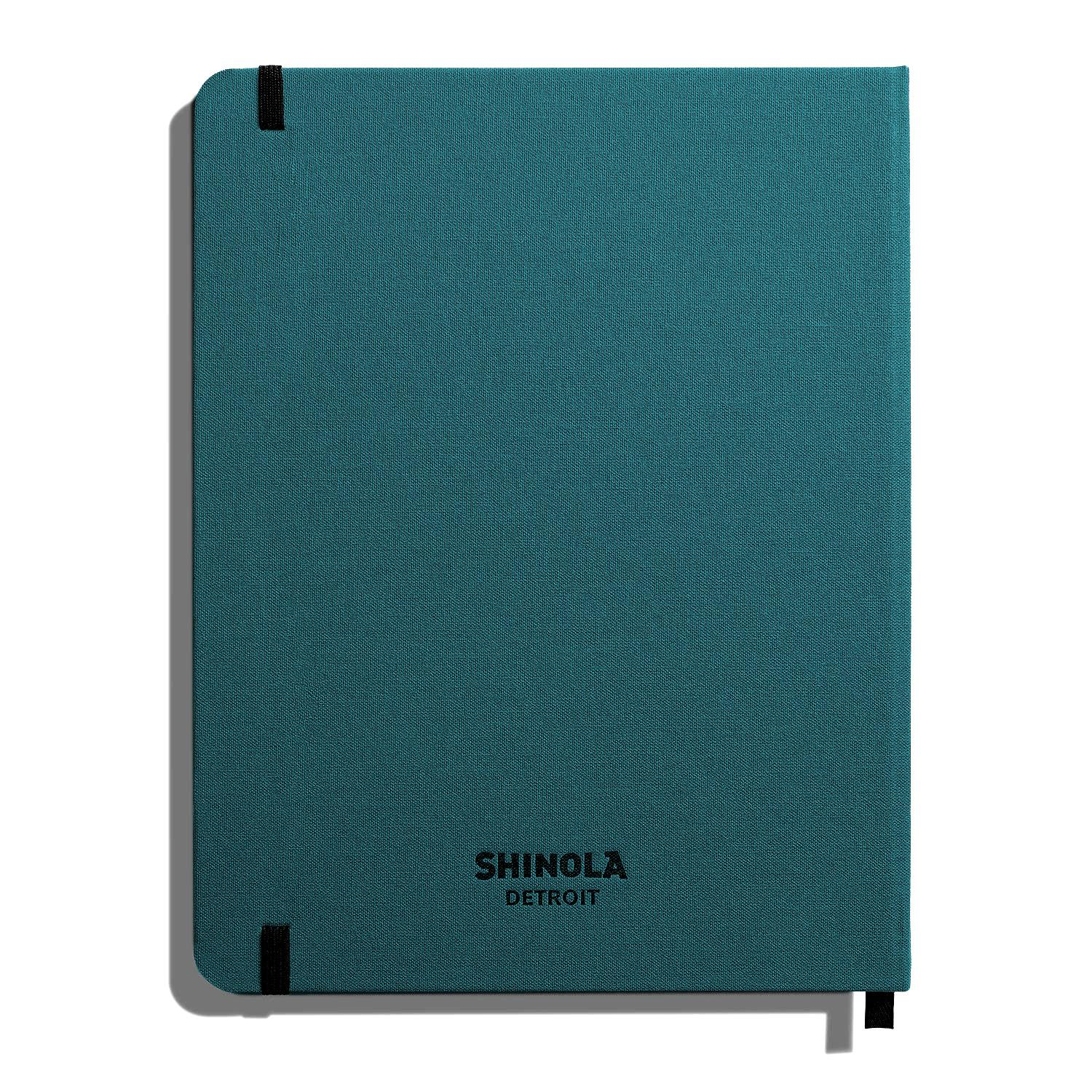 "Shinola Ruled Hard Linen 7""x9"" Journal Dark Teal Back"