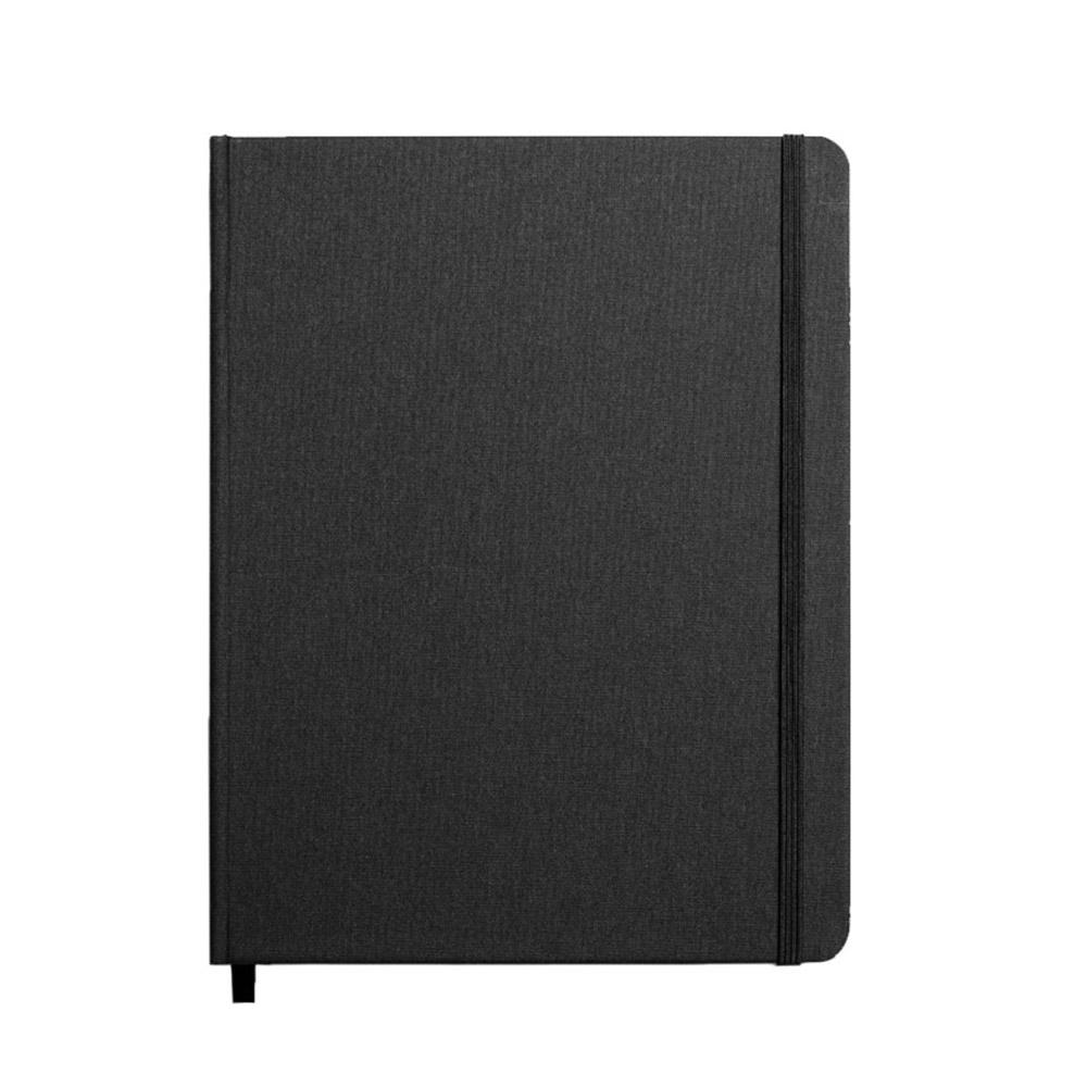 "Shinola Ruled Hard Linen 7""x9"" Journal Jet Black Front"