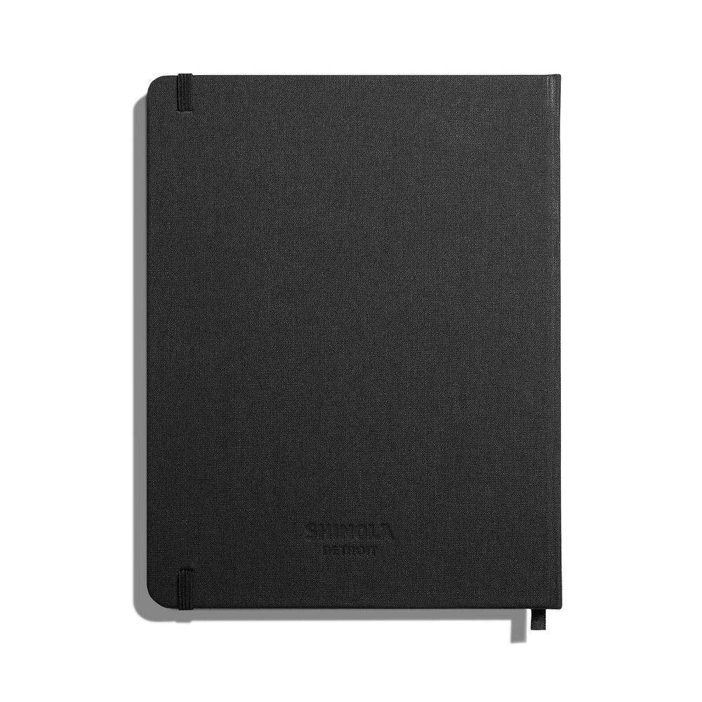 "Shinola Ruled Hard Linen 7""x9"" Journal Jet Black Back"