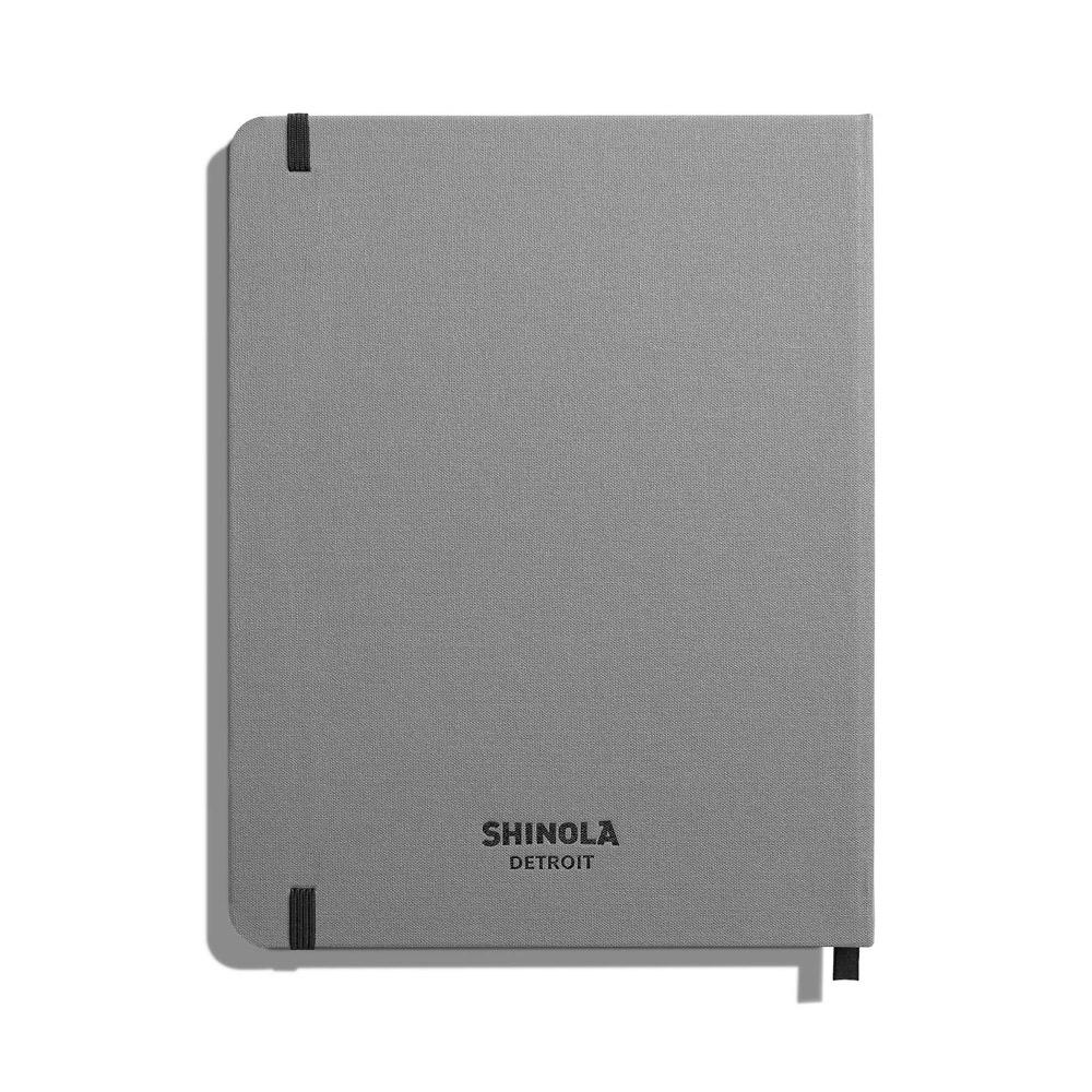 "Shinola Ruled Hard Linen 7""x9"" Journal Light Gray Back"