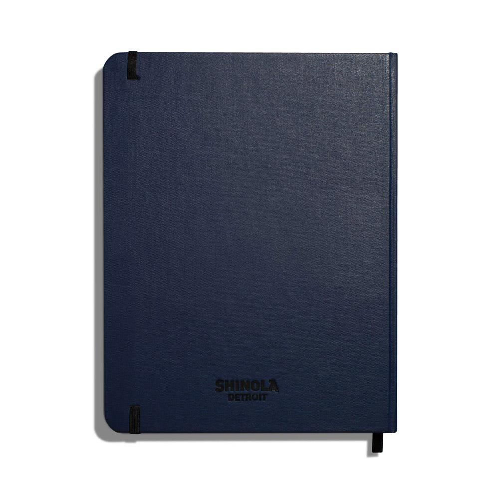 "Shinola Ruled Hard Linen 7""x9"" Journal Navy Back"