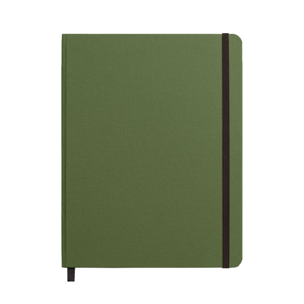 "Shinola Ruled Hard Linen 7""x9"" Journal Olive Front"