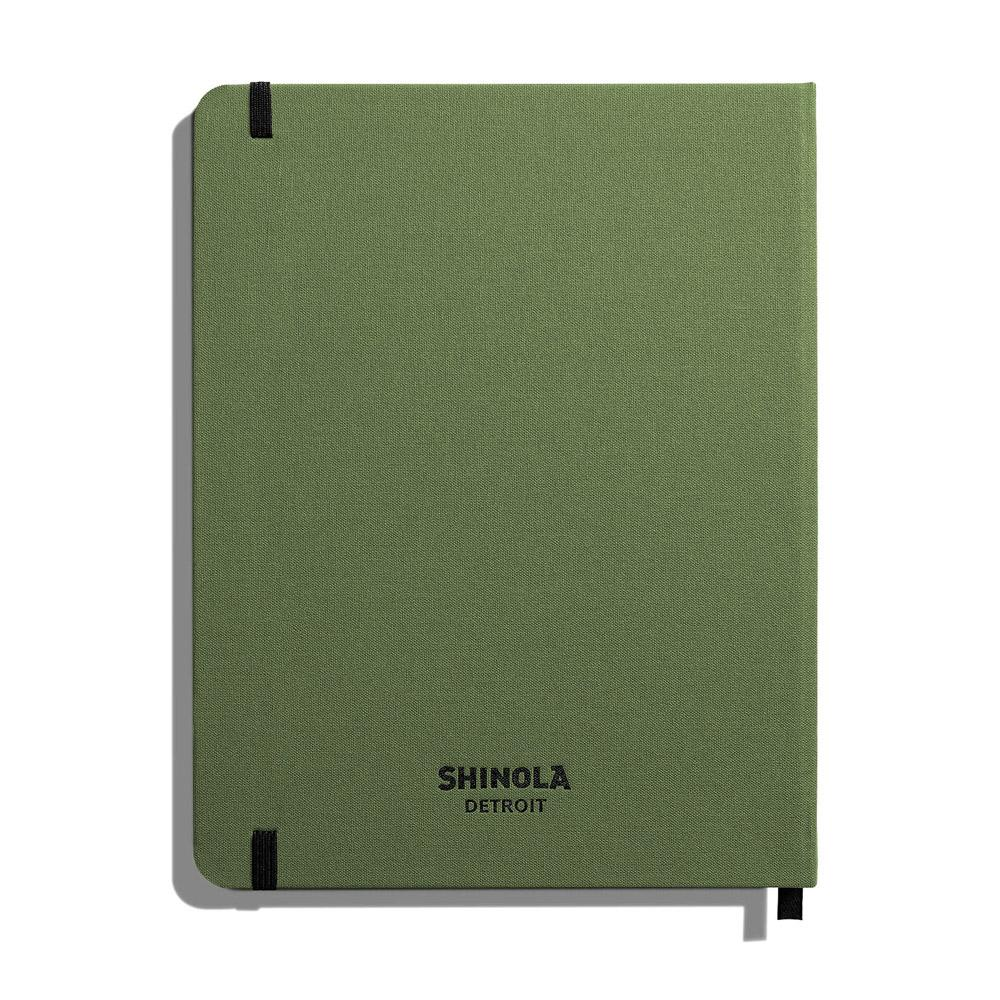 "Shinola Ruled Hard Linen 7""x9"" Journal Olive Back"