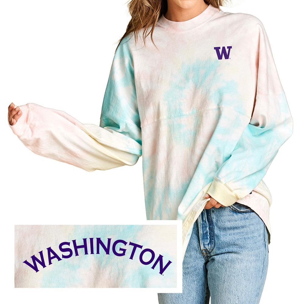Spirit Jersey Women's W Washington Tie Dye Crew