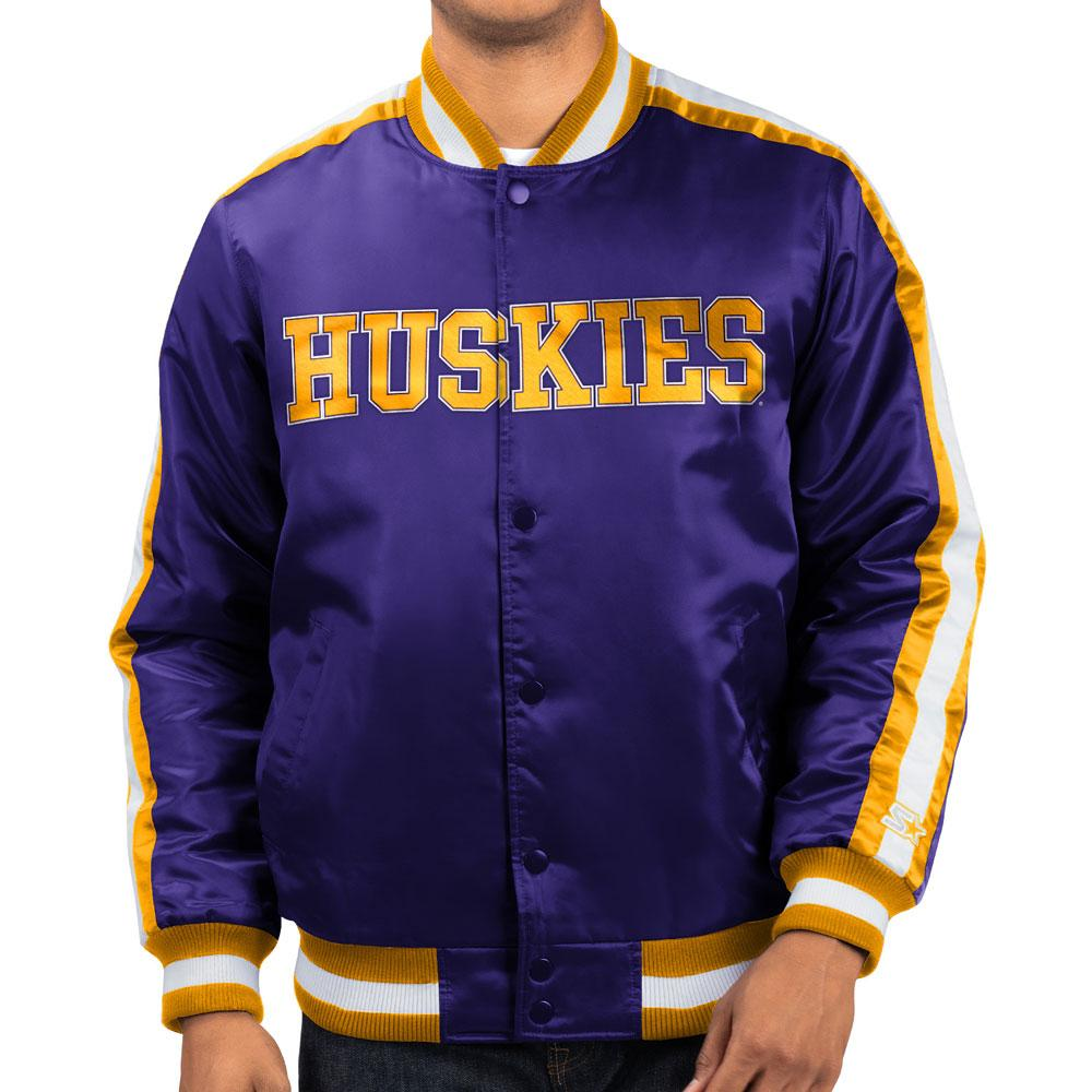 Starter Men's Huskies Retro Dog Varsity Satin Jacket – Front