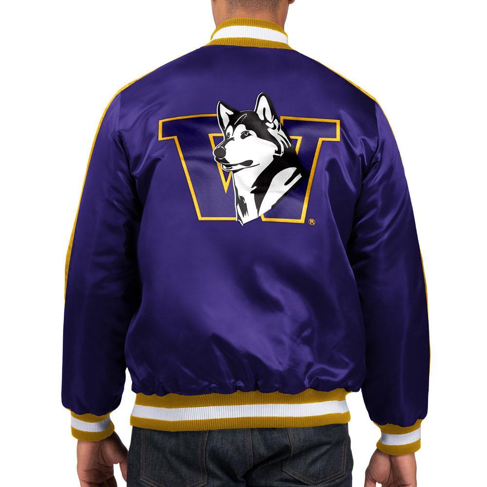 Starter Men's Huskies Retro Dog Varsity Satin Jacket – Back