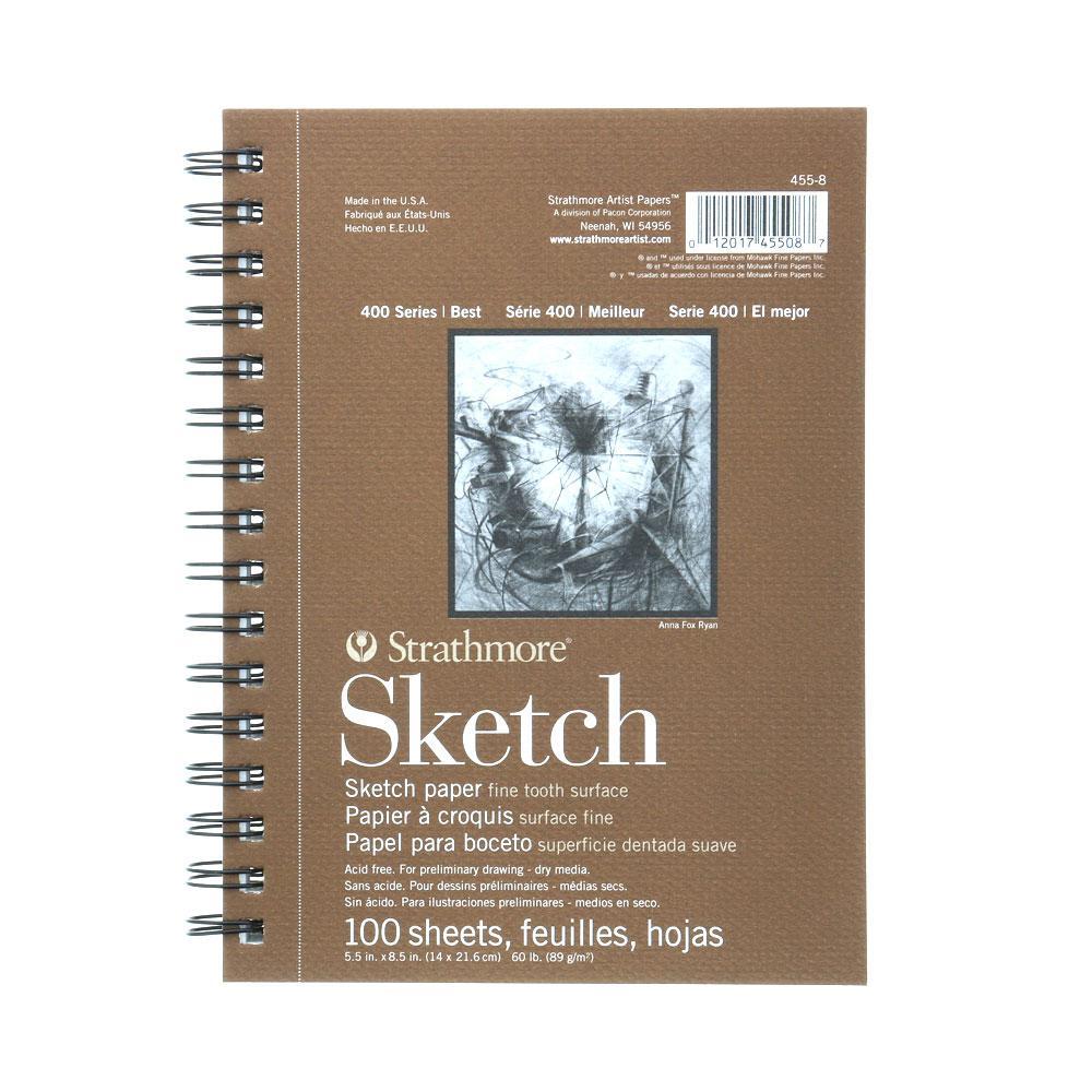 "Strathmore 5""x8"" 400 Series Wire Bound Sketch Pad 100 Sheet"