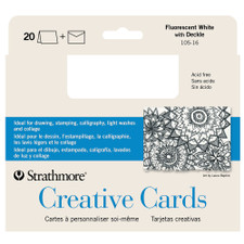 """Strathmore Fluorescent White 5"""" x 7"""" Deckled Cards 20ct."""