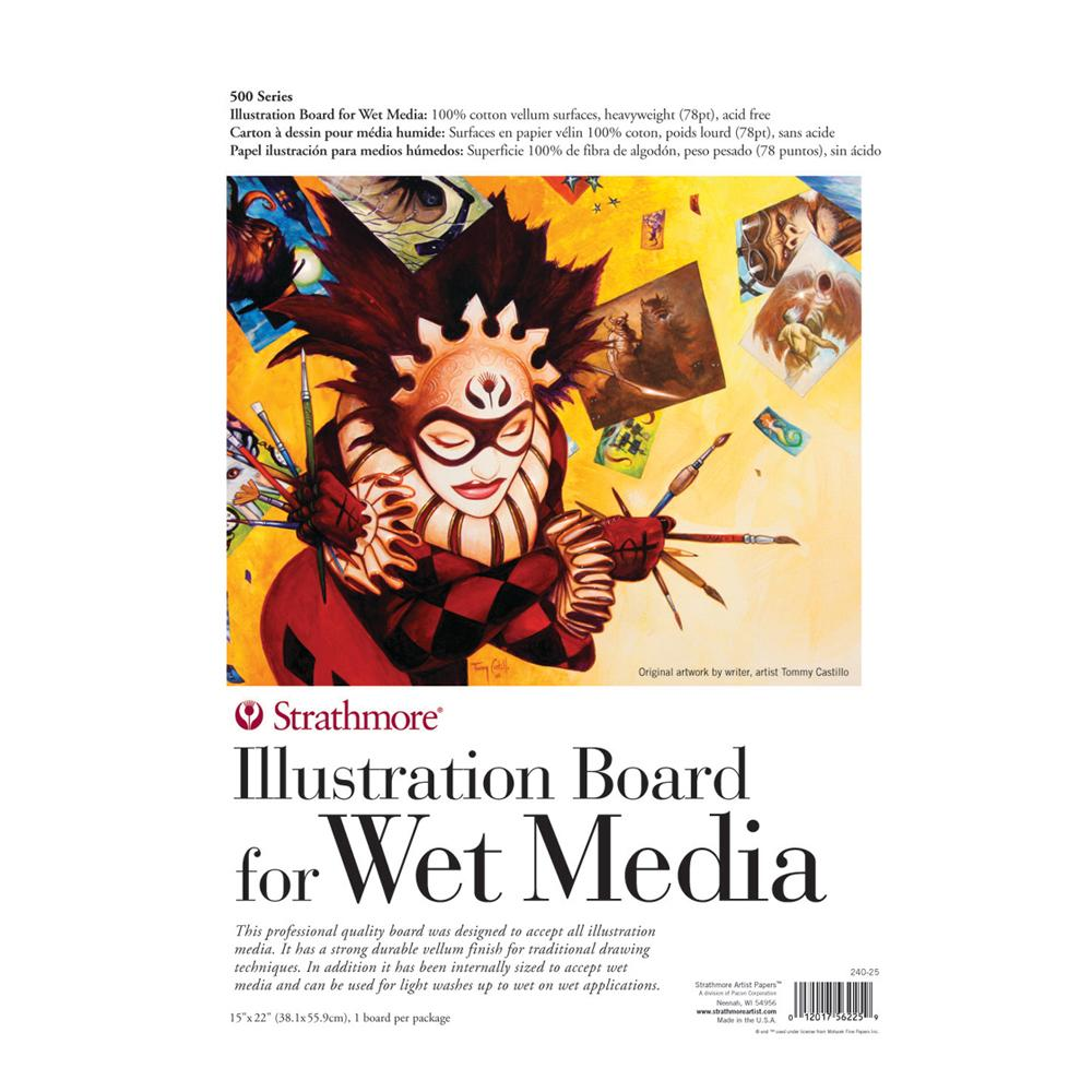 "Strathmore Illustration Board Wet Media 15""x22"" White"
