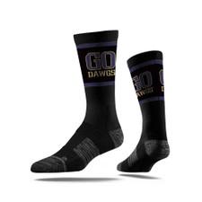 Strideline Unisex Black Go Dawgs Classic Crew Socks ML