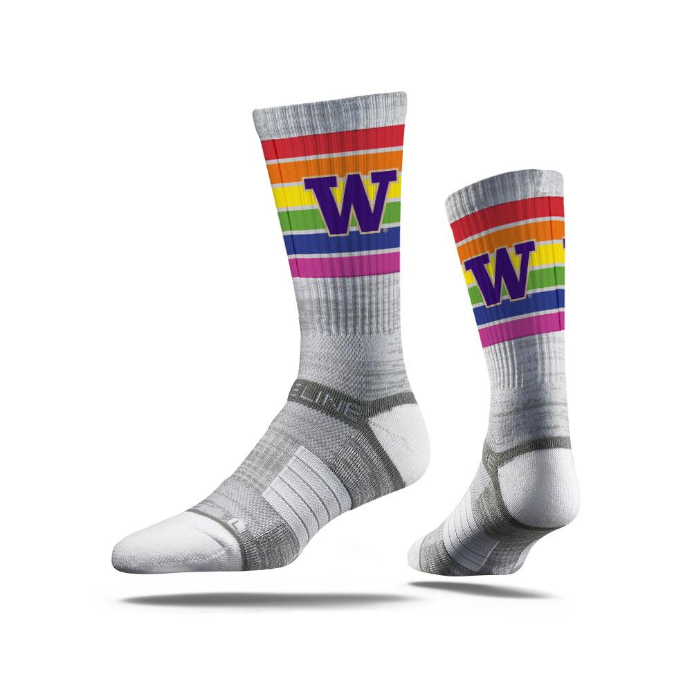 Strideline Unisex Gray W Pride Crew Sock ML