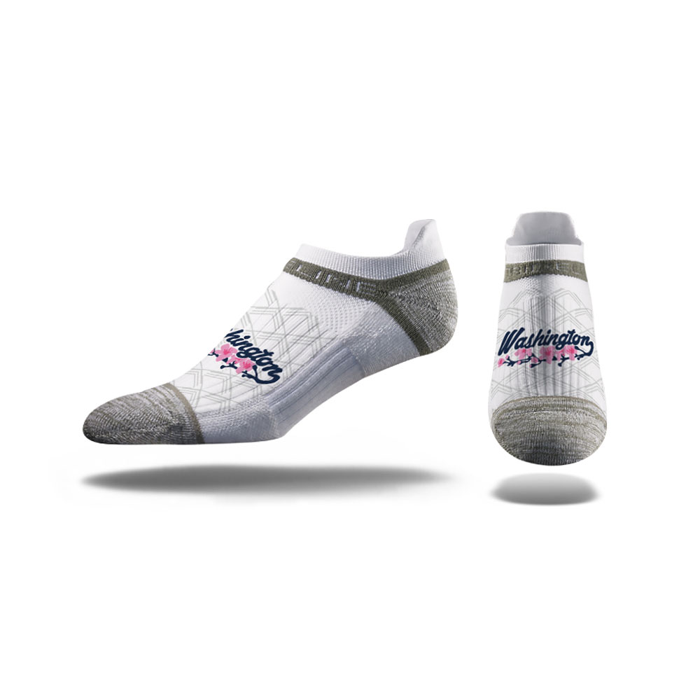 Strideline Unisex White Washington Cherry Blossoms No Show Socks