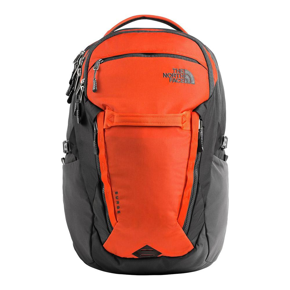 79b671fd92 ... The North Face Surge Backpack Zion Orange/Asphalt Grey Front ...