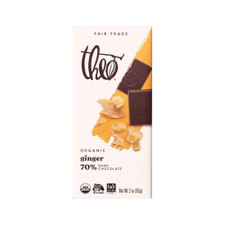 Theo Ginger 70% Dark Chocolate Bar 3oz