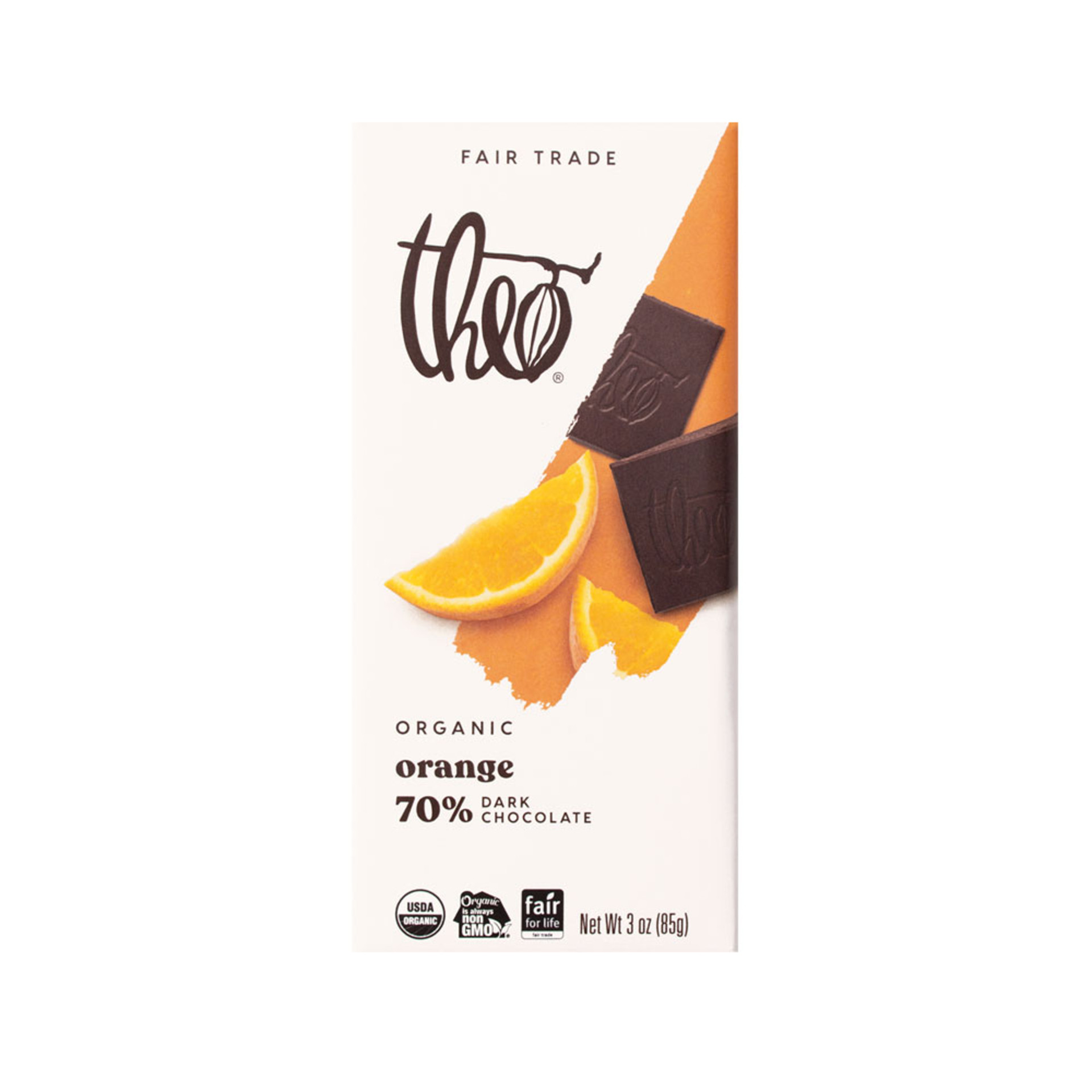 Theo Orange 70% Dark Chocolate Bar 3oz