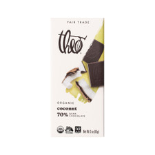 Theo Toasted Coconut 70% Dark Chocolate Bar 3oz