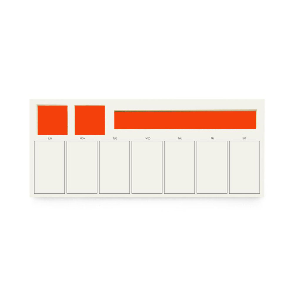 "Three By Three 6.5""x15"" Wide Jotblock Weekly Planner 60ct Red"