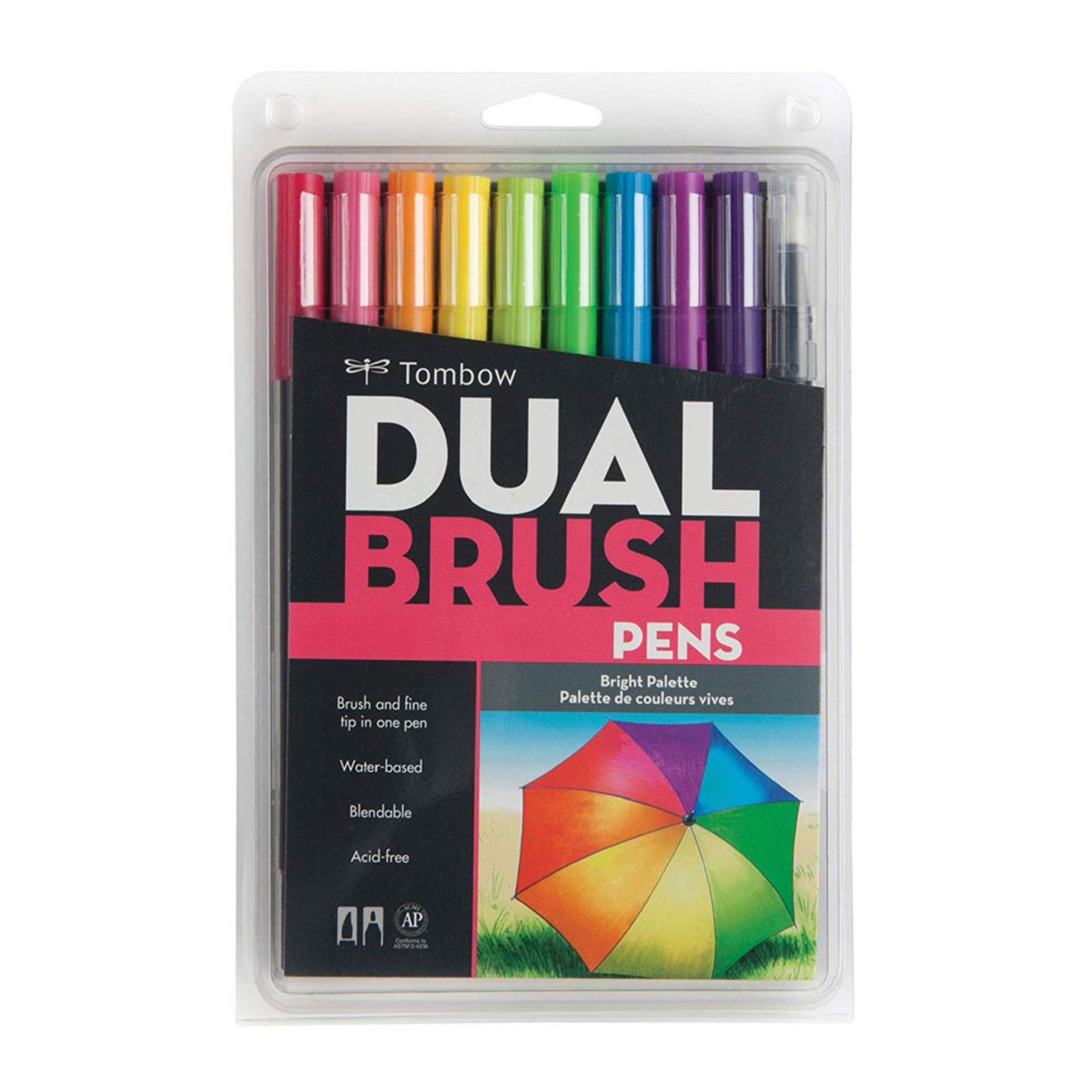 Tombow Bright Palette Dual-Tip Brush Pen Set 10 piece