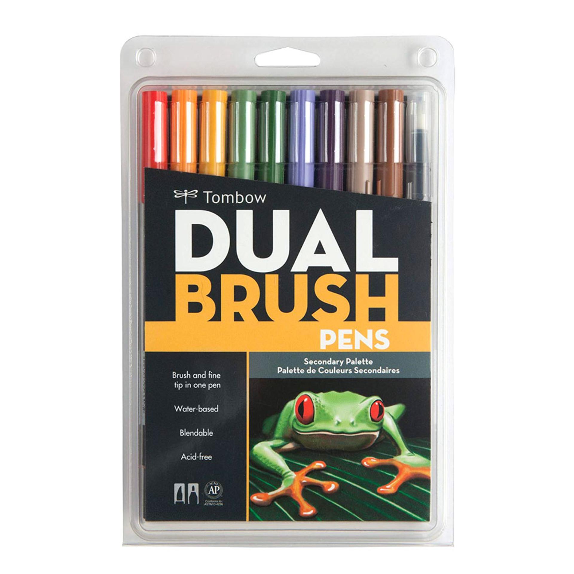 Tombow Secondary Palette Dual-Tip Brush Pen Set 10 piece