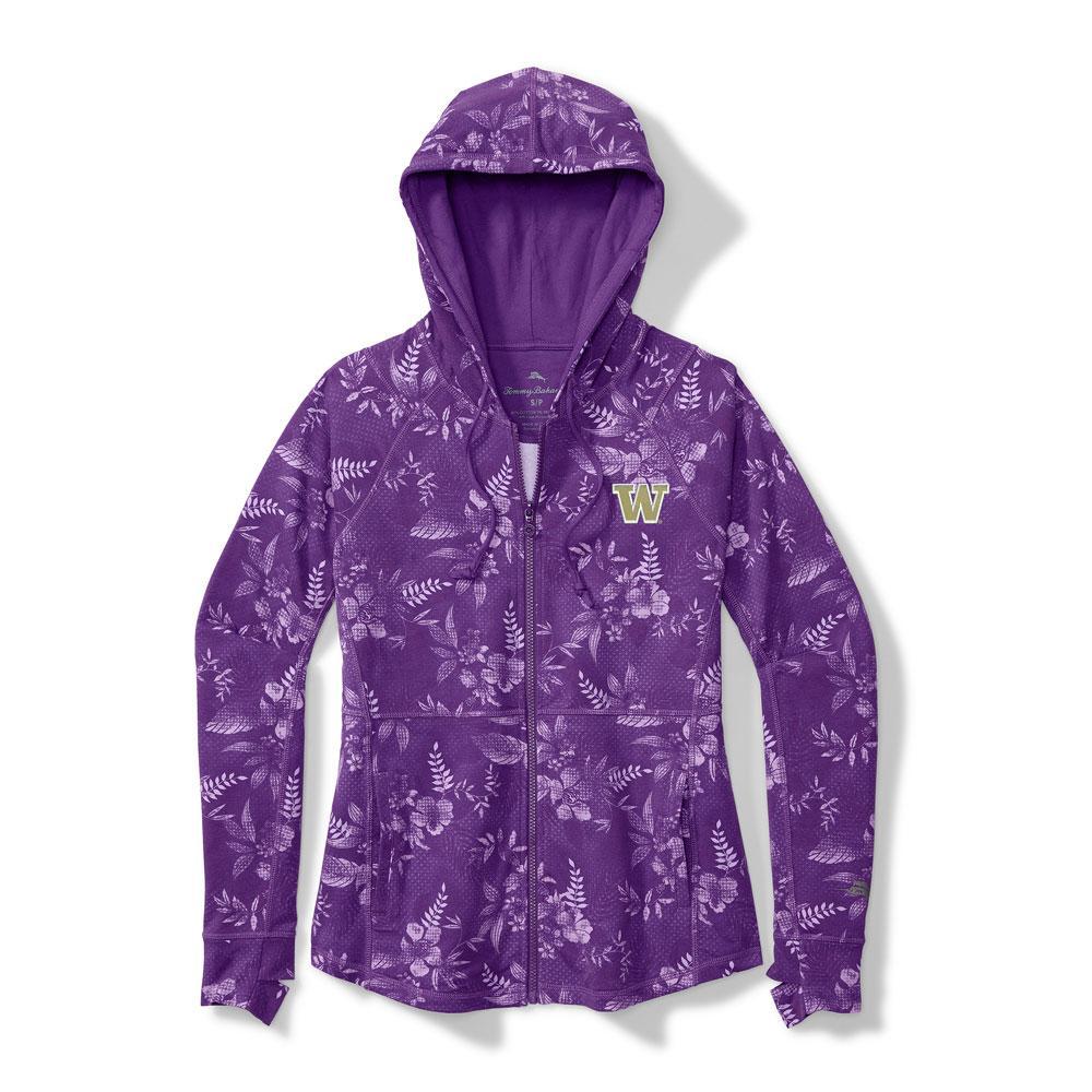 Tommy Bahama Women's Purple W Blossoms Full-Zip Hoodie