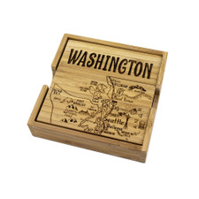 Totally Bamboo Washington Puzzle Coaster Set 4pc