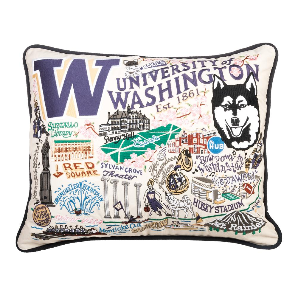 catstudio u of w embroidered collage pillow 16x20