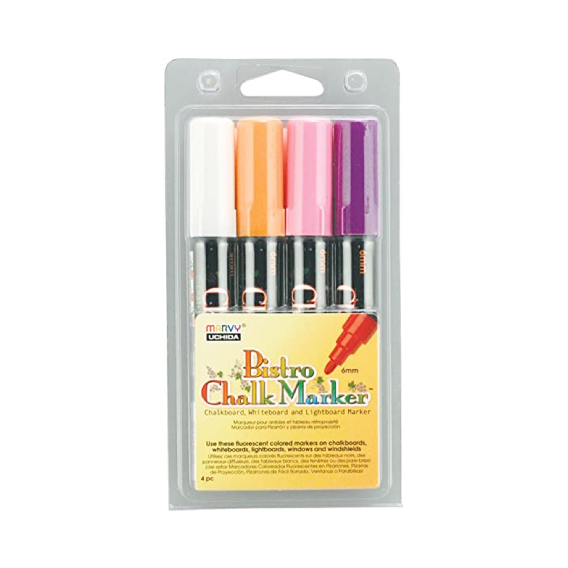 Uchida 480-4B Fluorescent Bistro Chalk Marker Set 4 piece