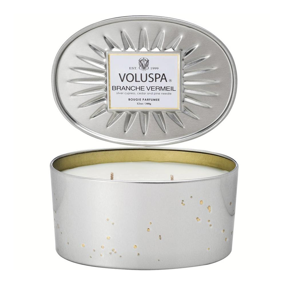 Voluspa Branche Mermeil Oval Tin Candle 2 Wick