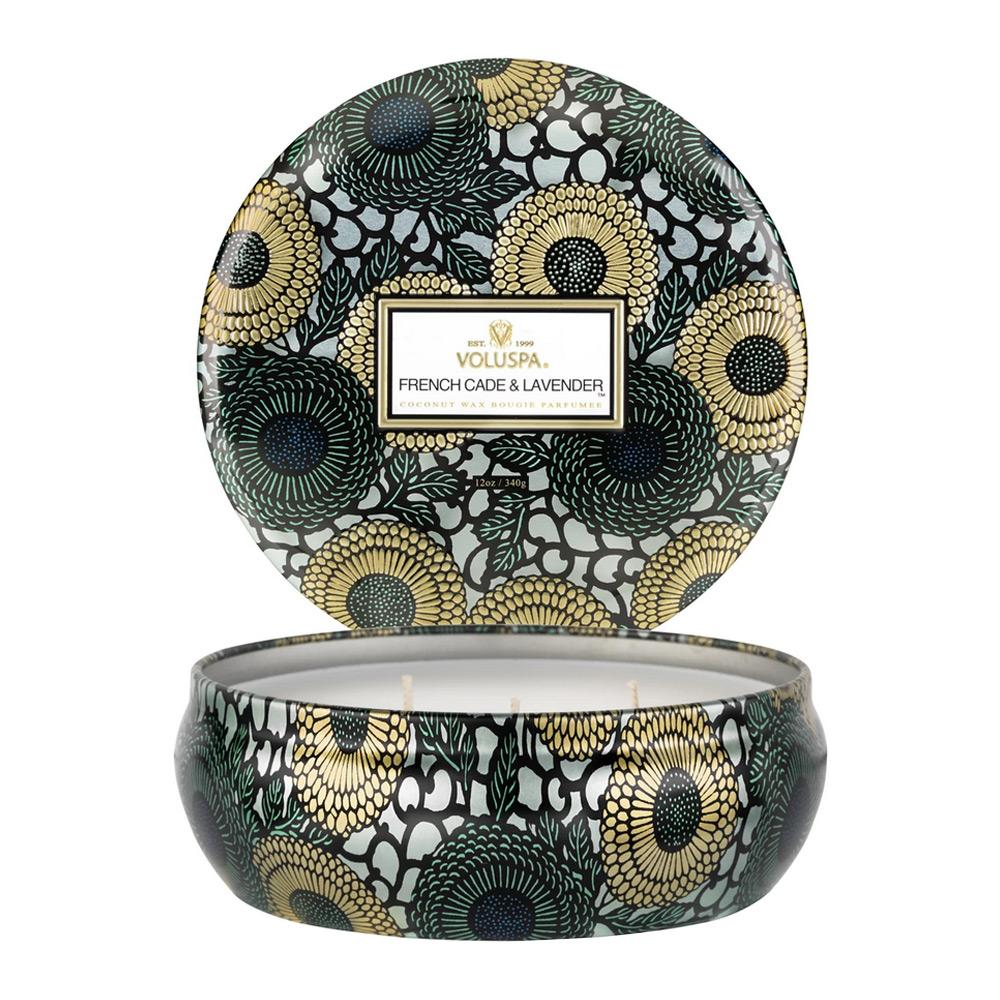 Voluspa French Cade and Lavender 3 Wick Candle Tin