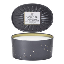 Voluspa Makassar Ebony & Peach Oval Tin Candle 2 Wick