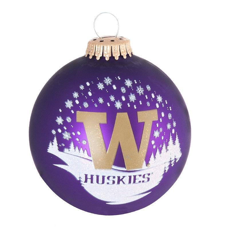 Washington Huskies Snow Scene Ornament