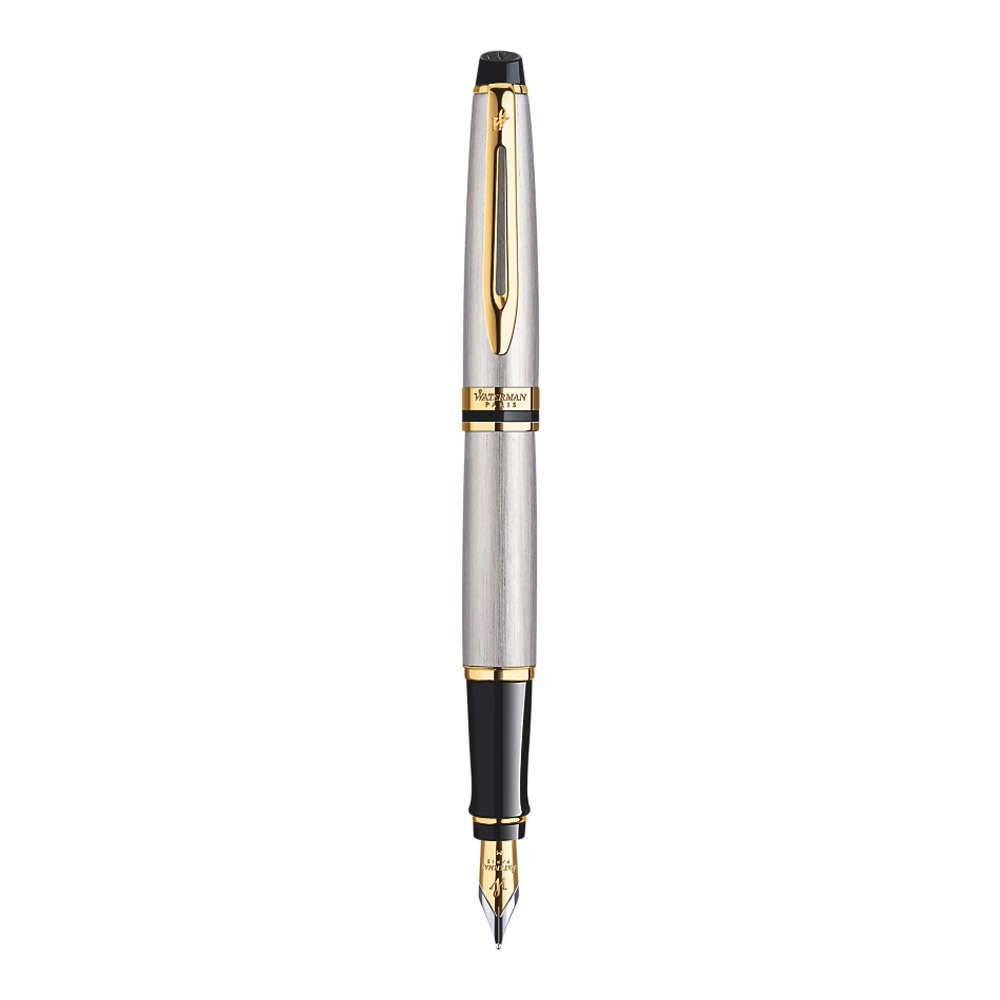 Waterman Expert Stainless Steel Gold Trim Fountain Pen Front