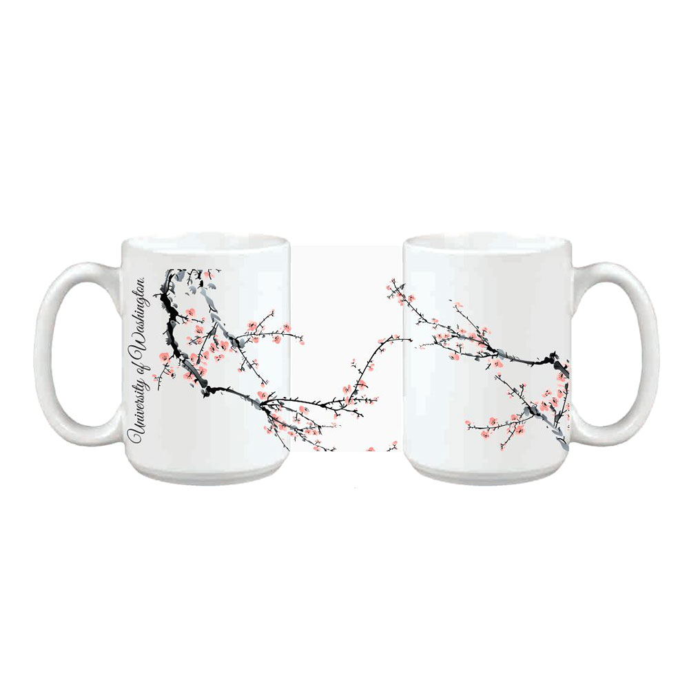 White U of W Cherry Blossom Ceramic Impact Mug 15oz