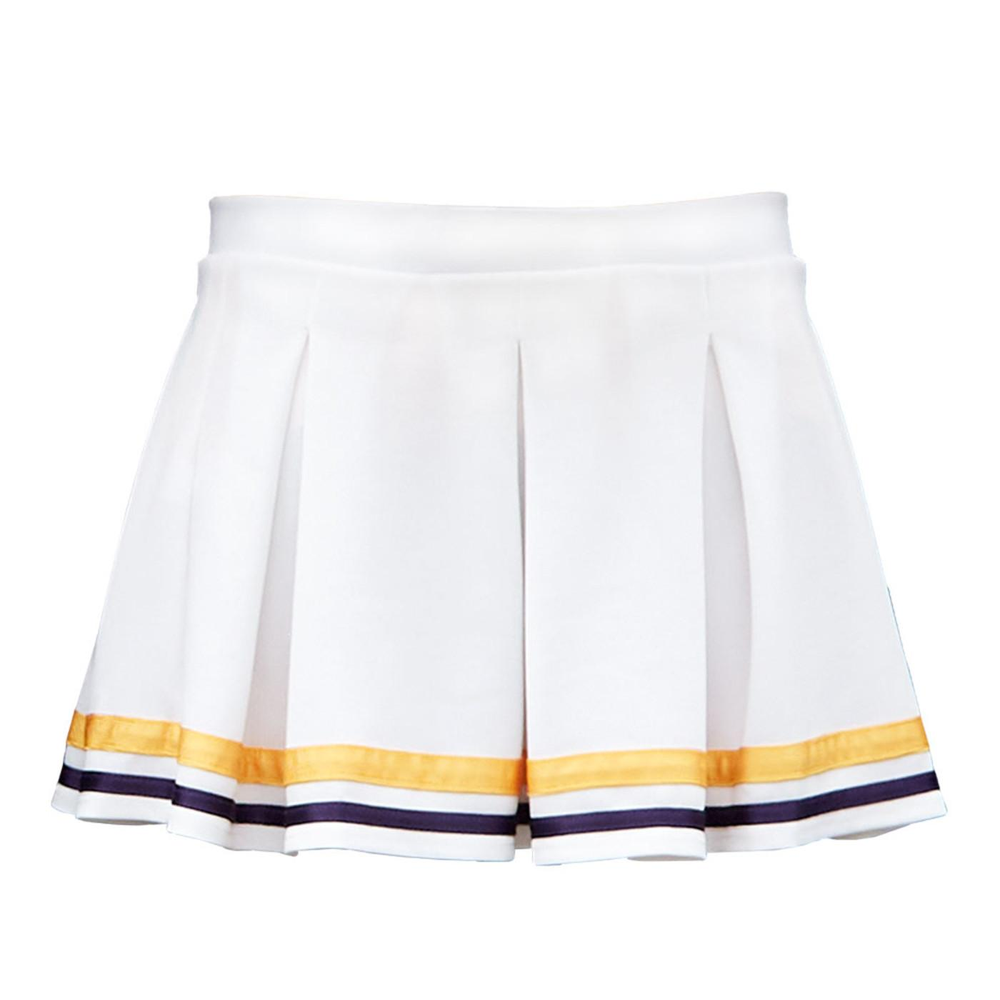 white with purple and yellow stripes w cheer skirt