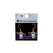 Wincraft Purple & Gold W Retro Dog Earrings